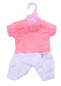 Бело-розовый комплект с разноцветным поясом