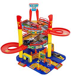 Гараж игровой 3 уровня с лифтом + 6 машинок