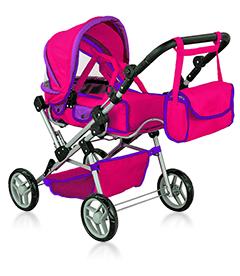 Кукольная коляска с сумкой и перекидной ручкой