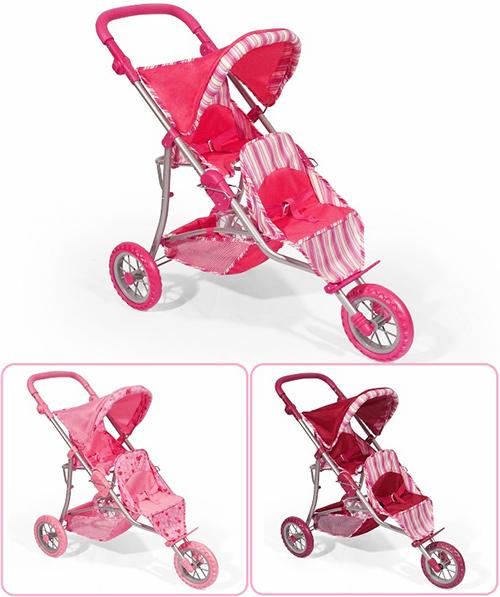 Большая прогулочная коляска для двух кукол 8883/9383