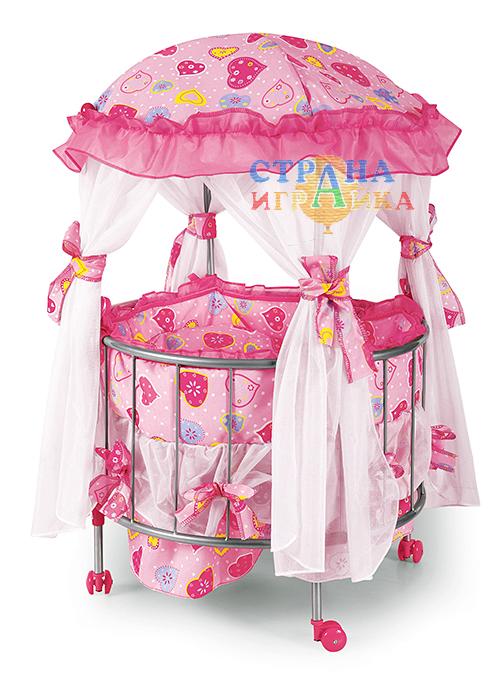 Кукольная кроватка-манеж с круглым ложем