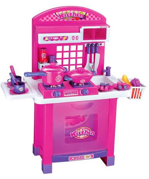 Многофункциональная игровая розовая кухня