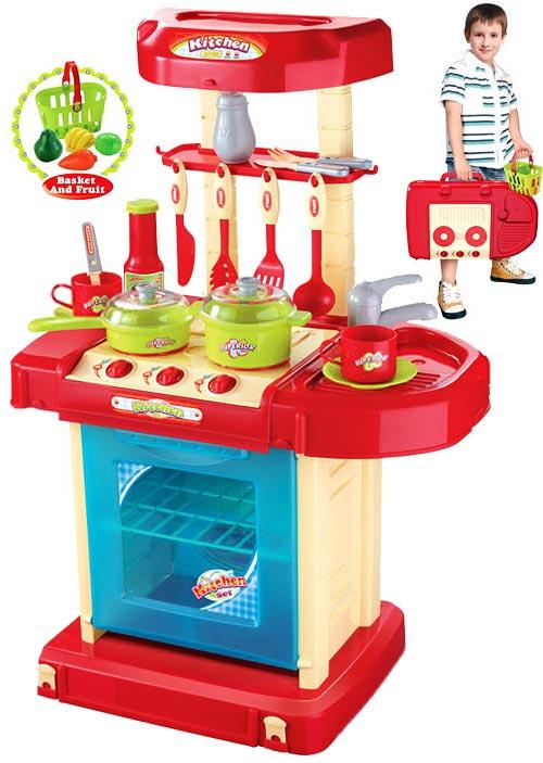 Переносная мини-кухня с корзинкой продуктов