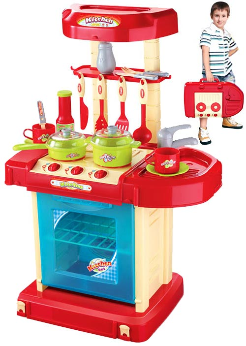 Переносная мини-кухня в чемоданчике (красная)