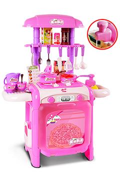 Розовая мини-кухня с водой и большой духовкой