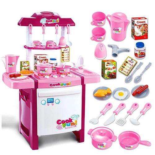 Детская розовая мини-кухня с духовкой и чайником