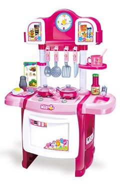 Розовая кухня с часами и большой духовкой