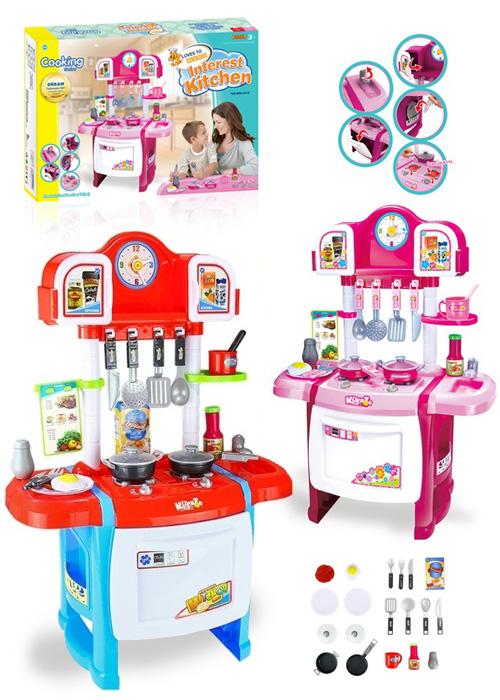 Розовая мини-кухня с часами и большой духовкой