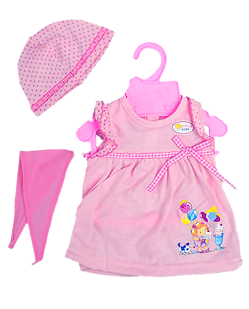 Розовое платье с шапочкой и косынкой