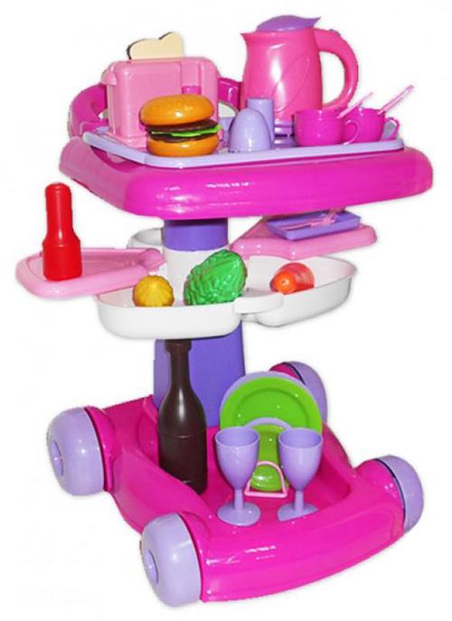Cервировочный столик с посудой и продуктами
